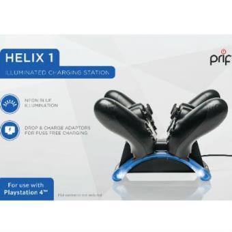 Cargador para 2 mandos PRIF con luz HELIX1 PS4