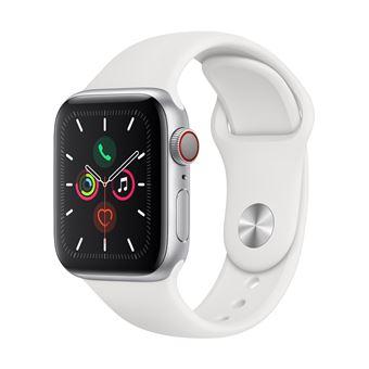 Apple Watch S5 40 mm LTE Caja de aluminio en plata y Correa deportiva Blanco