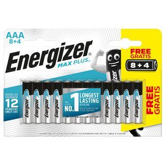 Pilas alcalinas Energizer Max Plus AAA LR03 - 8+4 unidades