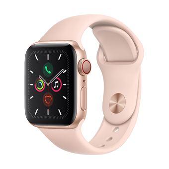 Apple Watch S5 40 mm LTE Caja de aluminio en oro y Correa deportiva Rosa arena
