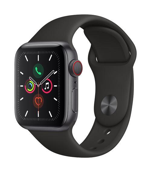 Apple Watch Series 5 GPS + Cellular 40 mm aluminio gris correa deportiva negro