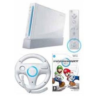 Consola Nintendo Wii Blanca + Wii Remote Plus + Nunchuck + Volante Wii Wheel + Mario Kart