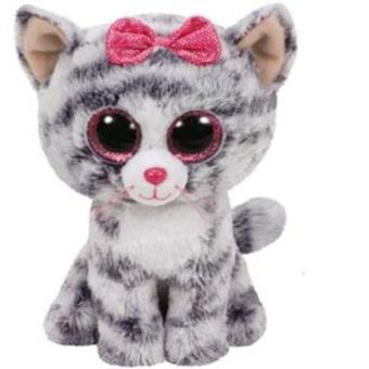 Peluche Beanie Boos Gato gris lazo (15cm)
