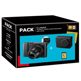 Cámara compacta digital Panasonic Lumix TZ100 + SD + Funda Pack
