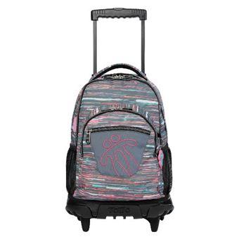 Mochila escolar Totto con ruedas renglones multicolor jaspeado