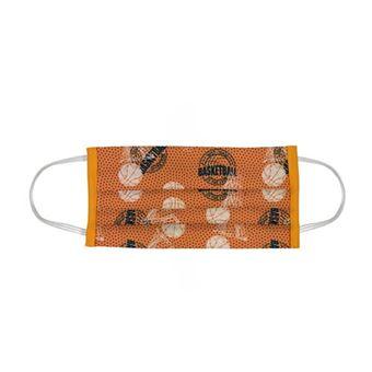 Mascarilla Infantil Indigofabrics higiénica reutilizable baloncesto naranja