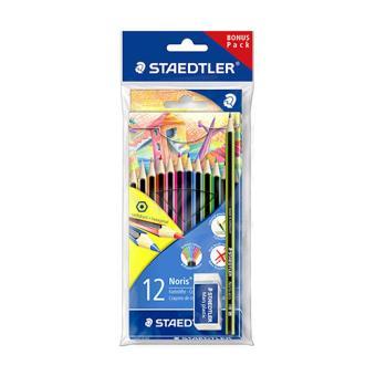 Estuche de 12 lápices de colores surtidos Staedtler, lápiz y goma de borrar Noris 185 SET1