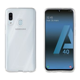 Funda Muvit Cristal Soft Transparente + Protector de pantalla Cristal templado Marco negro para Samsung Galaxy A40