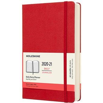 Agenda Moleskine 2020/2021 día por página large tapa dura rojo escarlata