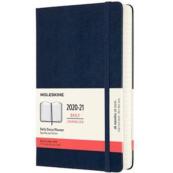 Agenda Moleskine 2020/2021 día por página large tapa dura azul zafiro