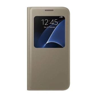Funda Samsung S-View Cover para Galaxy S7 gold