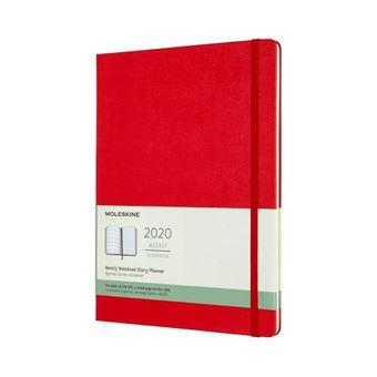 Agenda-cuaderno Moleskine semanal de 12 meses XL tapa dura rojo escarlata