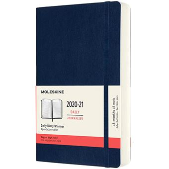 Agenda Moleskine 2020/2021 día por página large tapa blanda azul zafiro
