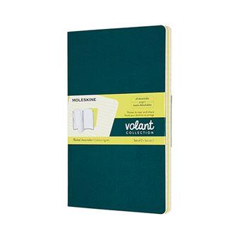 Libreta Moleskine Volant Journals Large rayada verde pino/amarillo limón