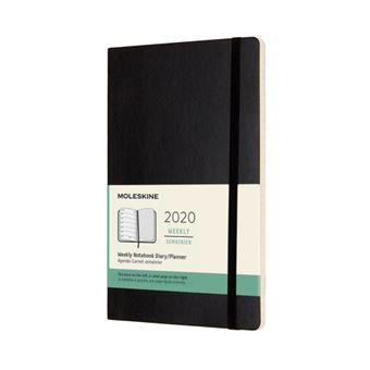 Agenda-cuaderno Moleskine semanal de 12 meses L tapa blanda negro