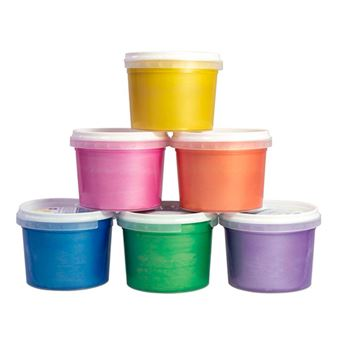 Caja 6 botes pintura dedos Milan colores metalizados