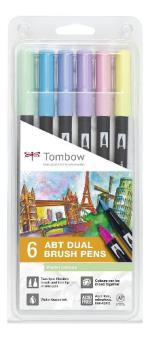 Tombow ABT- 6P rotuladores Dual Brush Pen con dos puntas - 6 unidades color pastel