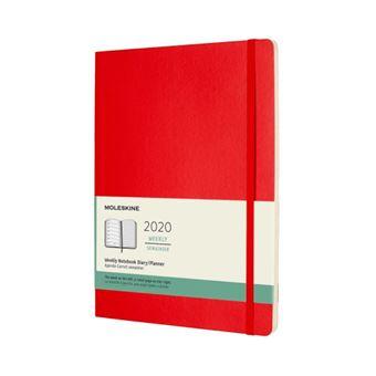 Agenda-cuaderno Moleskine semanal de 12 meses XL tapa blanda rojo escarlata