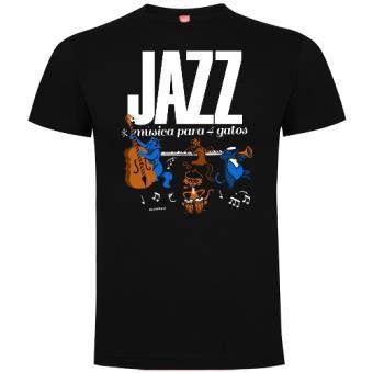 Camiseta Jazz Música para 4 gatos Negro Talla S