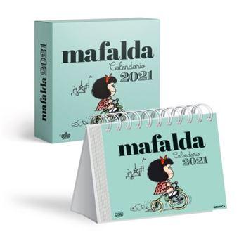 Calendario de escritorio Mafalda 2021 Verde Caja   Calendario