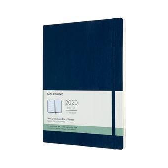 Agenda-cuaderno Moleskine semanal de 12 meses XL tapa blanda azul zafiro