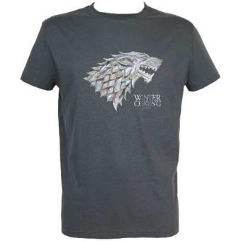 Camiseta Juego de tronos - Emblema metálico Casa Stark Gris - Talla S