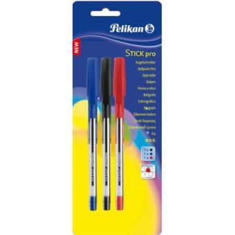 Blister 3 bolígrafos Stick pro color surtido