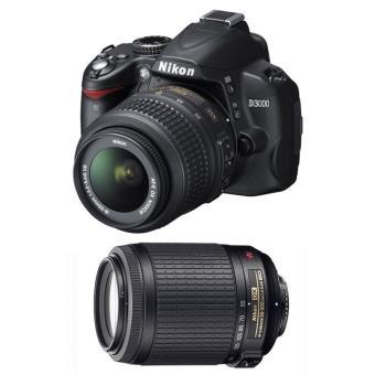 Nikon D3000 KIT (18-55 MM + 55-200 MM+Bolsa+ Libro Foto Nikon + 2 Tarjetas SD) Reflex Digital