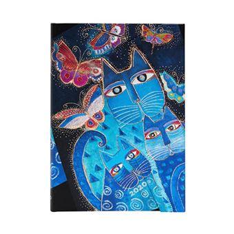 Agenda midi 2020 Paperblanks apaisada semana vista Gatos azules y mariposas tapa dura