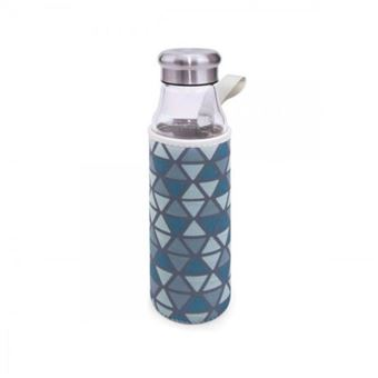 Botella vidrio Iris 550 ml con funda Azul