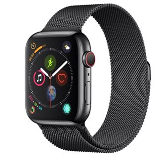 Apple Watch S4 44mm LTE Caja de aluminio en gris espacial y correa Loop deportiva Negra