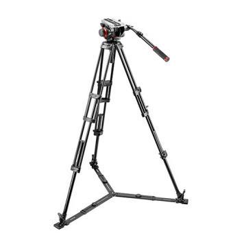 Manfrotto - Kit video con trípode alumino PRO 546GB + rótula 504HD estabilizado ras de suelo