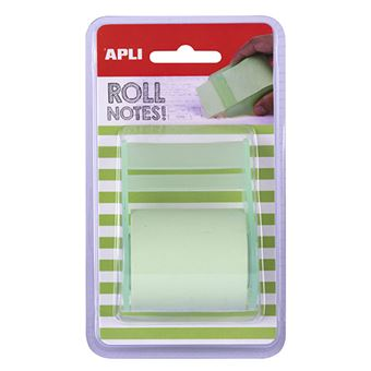Rollo dispensador Apli de notas adhesivas 50 mm x 8 m verde pastel