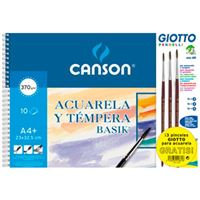 Bloc dibujo A4+ Canson Acuarela y témpera Basik + 3 pinceles Giotto