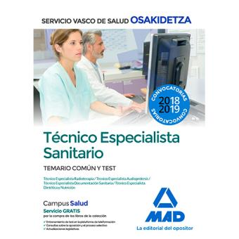 Técnico Especialista Sanitario de Osakidetza - Temario común y test