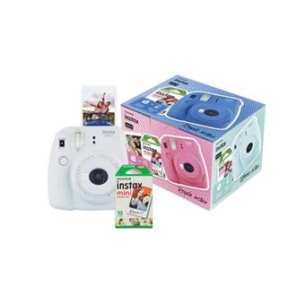 Cámara instantánea Fujifilm Mini 9 Blanco + Papel Fujifilm Instax Mini 10 ud.Kit