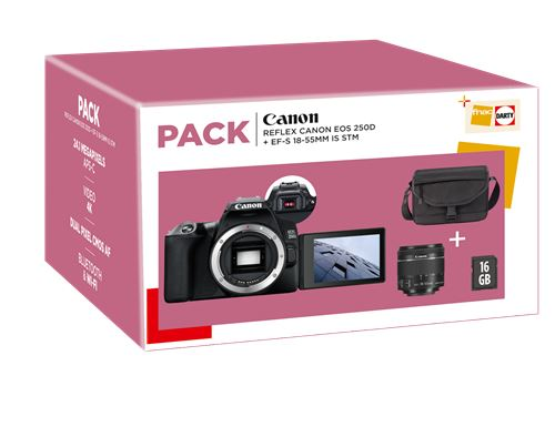 KIT: Cámara réflex Canon EOS 250D + 18-55mm + bolso + tarjeta 16GB