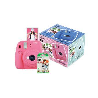 Cámara instantánea Fujifilm Mini 9 Rosa + Papel Fujifilm Instax Mini 10 ud.Kit
