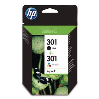 Pack Cartucho de tinta HP 301 Tricolor + Negro
