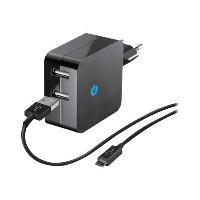 Cargador Temium Dual con cable micro USB 2.1 A