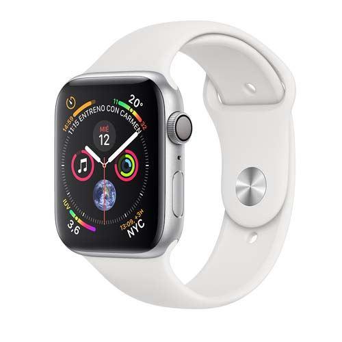 Apple Watch Series 4 GPS 40 mm aluminio en plata correa deportiva blanco