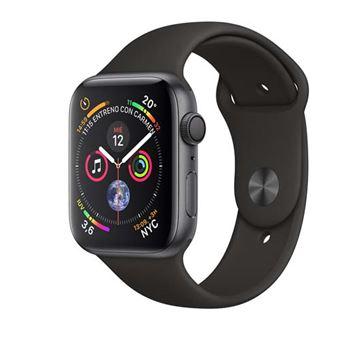 Apple Watch S4 44mm GPS Caja de aluminio en gris espacial y correa deportiva Negra
