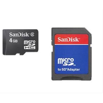 Sandisk MicroSd 4GB + Adaptador Clase 4 Tarjeta de Memoria
