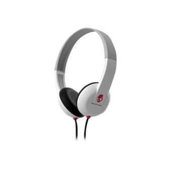 Skullcandy Uproar - Auriculares de superficie con tecnología de control de reproducción TapTech blanco/rojo