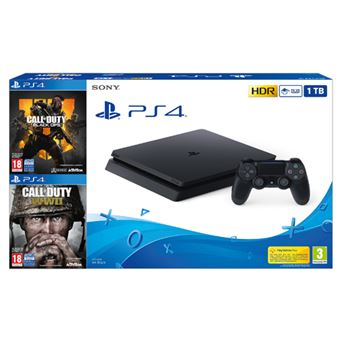 Consola PS4 Slim 1TB + Call Of Duty: Black OPS 4 + Call of Duty: WWII