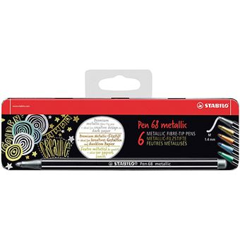 Estuche 6 rotuladores Stabilo Pen 68 Metallic