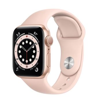 Apple Watch S6 40mm GPS Caja de aluminio en Oro y correa deportiva Rosa arena