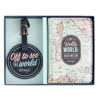 Mr Wonderful Set de funda para transporte y etiqueta para equipaje para recorrer el mundo