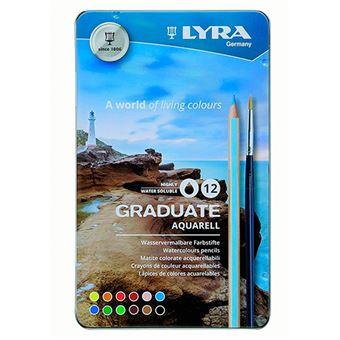 Estuche metal Lyra Graduate Aquarell de 12 lápices acuarelables + pincel