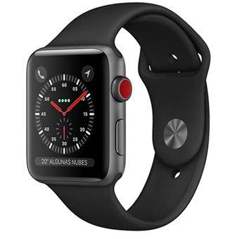 Apple Watch S3 42mm LTE Caja de aluminio en gris espacial y correa deportiva Negro